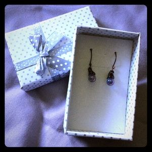 PurpleBlue Iridescent WireWrapped Dangle Earrings